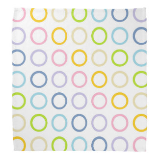 Pastel Rainbow Circles White Kerchief
