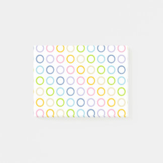 Pastel Rainbow Circles White Post-it Notes