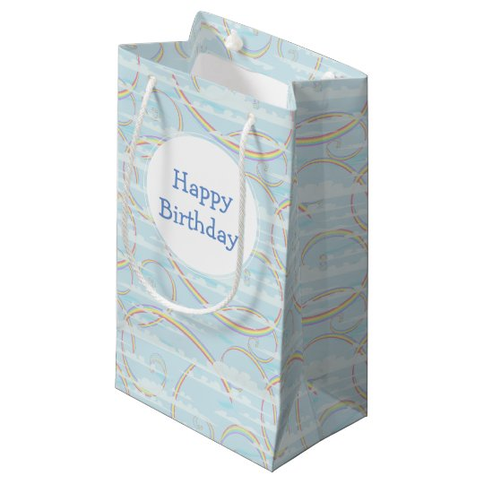 Pastel Rainbow, Clouds, Blue Sky, Swirl, Colourful Small Gift Bag