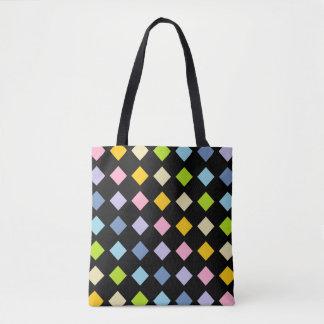 Pastel Rainbow Diamonds Black Tote Bag