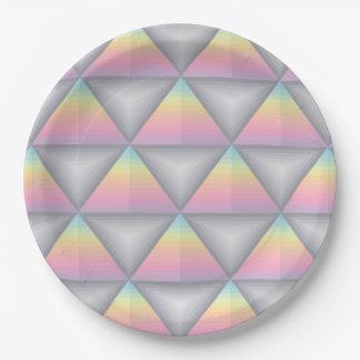 Pastel Rainbow Geometric Triangles Paper Plates