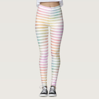 Pastel Rainbow HorizStripes Watercolor Whitespace Leggings