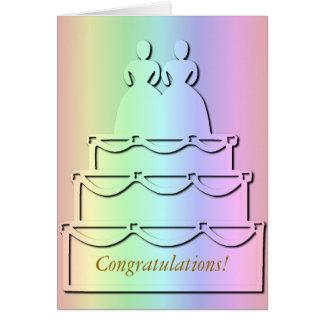 Pastel Rainbow Lesbian Wedding Cake Card