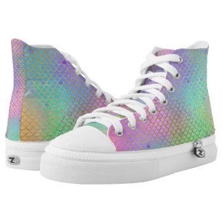 Pastel Rainbow Mermaid Scale High Top Shoes