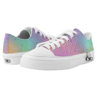 Pastel Rainbow Mermaid Scale Low Top Shoes
