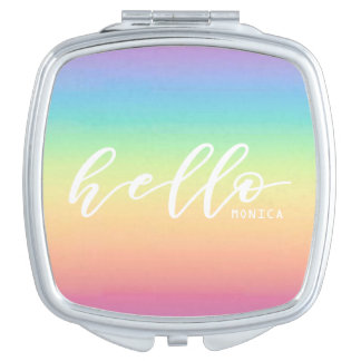 Pastel Rainbow Ombre Chic Hello Personalized Makeup Mirror