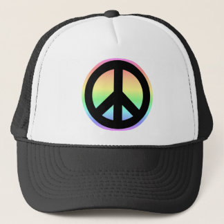 Pastel Rainbow Peace Sign Trucker Hat