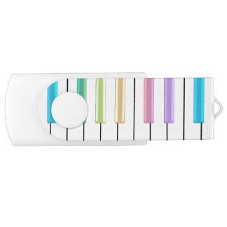 Pastel Rainbow Piano Music USB Flash Drive Swivel USB 3.0 Flash Drive