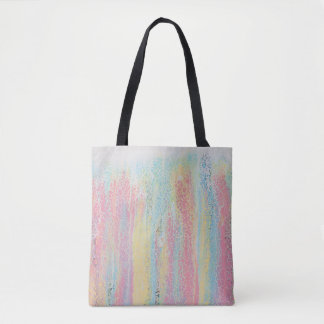 Pastel Rainbow Pink Blue Yellow White Colourful Tote Bag