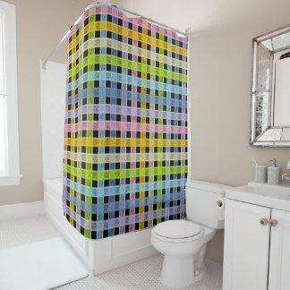 Pastel Rainbow Plaid Black