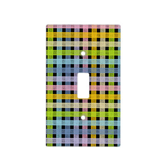 Pastel Rainbow Plaid Black Light Switch Cover