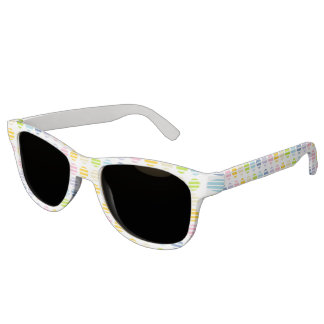Pastel Rainbow Polka Dots and Stripes Sunglasses