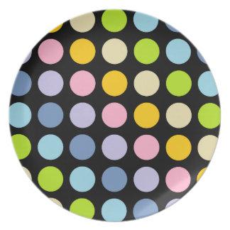 Pastel Rainbow Polka Dots Black Plate
