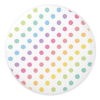 Pastel Rainbow Polka Dots Pattern Ceramic Knob