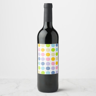 Pastel Rainbow Polka Dots Wine Label