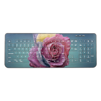 Pastel Rainbow-Rose Wireless Keyboard