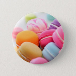 Pastel Rainbow Scattered French Macaron Cookies 2 Inch Round Button