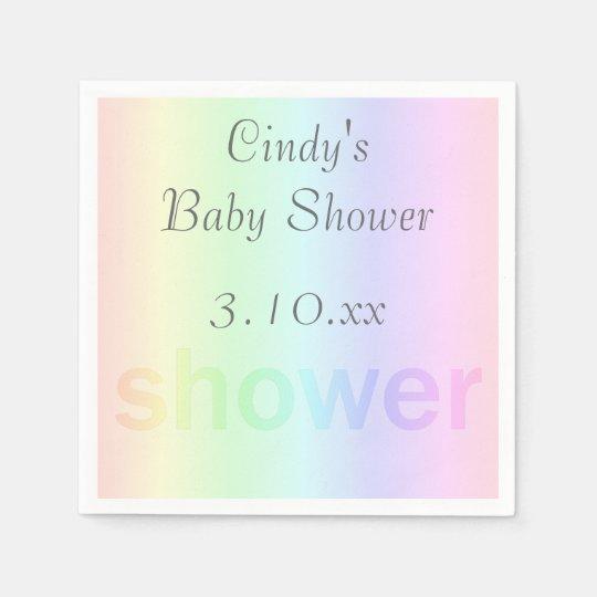 Pastel Rainbow Shower Personalized Disposable Napkin