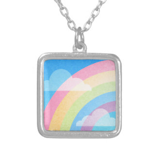 Pastel Rainbow Silver Plated Necklace