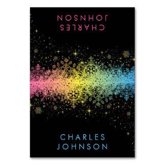 Pastel Rainbow Snowflakes Place Cards