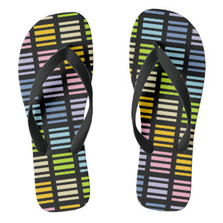 Pastel Rainbow Squares and Stripes Black Flip Flops