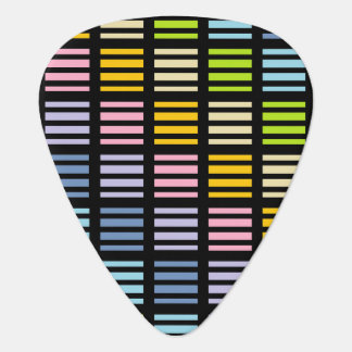 Pastel Rainbow Squares and Stripes Black Guitar Pick
