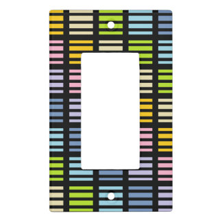 Pastel Rainbow Squares and Stripes Black Light Switch Cover