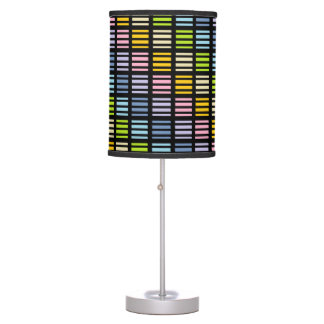 Pastel Rainbow Squares and Stripes Black Table Lamp