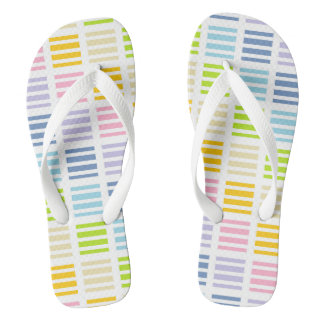 Pastel Rainbow Squares and Stripes Flip Flops