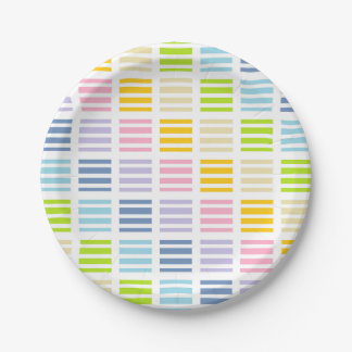 Pastel Rainbow Squares and Stripes Paper Plate