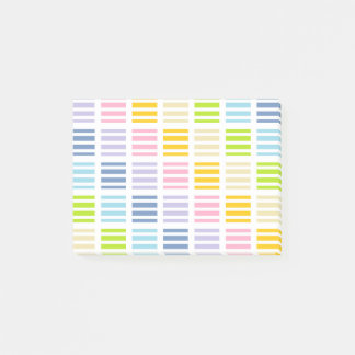 Pastel Rainbow Squares and Stripes Post-it® Notes
