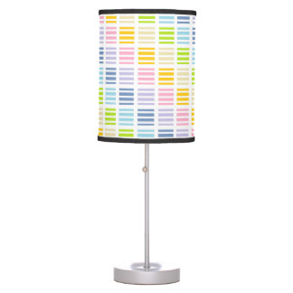 Pastel Rainbow Squares and Stripes Table Lamp