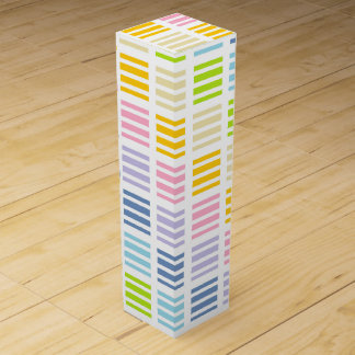 Pastel Rainbow Squares and Stripes Wine Box