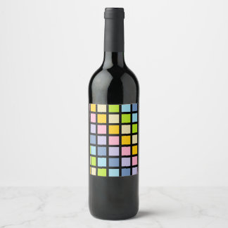 Pastel Rainbow Squares Black Wine Label