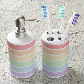 Pastel Rainbow Striped Bath Set