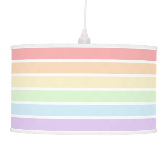 Pastel Rainbow Striped Pendant Lamp