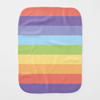 Pastel rainbow stripes Gay Pride Baby Burp Cloths