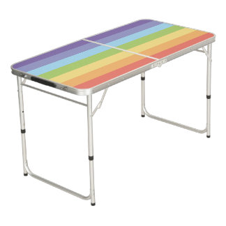 Pastel rainbow stripes Gay Pride Beer Pong Table