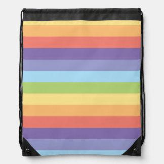Pastel rainbow stripes Gay Pride Drawstring Bag