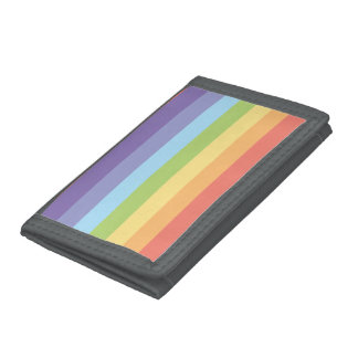 Pastel rainbow stripes Gay Pride Tri-fold Wallets