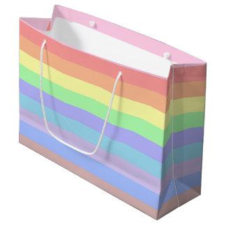 Pastel Rainbow Stripes Large Gift Bag