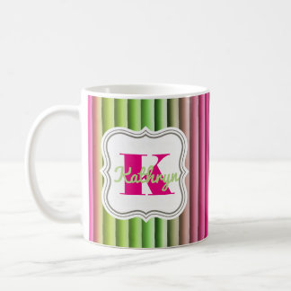 Pastel Rainbow w/Monogram & Name Coffee Mug