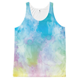 Pastel Rainbow Watercolor Unisex Tank Top