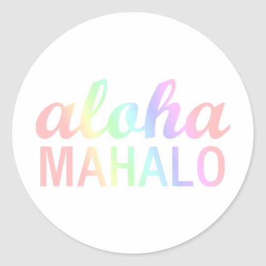 Pastel Rainbows Aloha Mahalo Typography Hawaii Classic Round Sticker