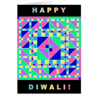 Pastel Rangoli w/ Black Border Diwali Card