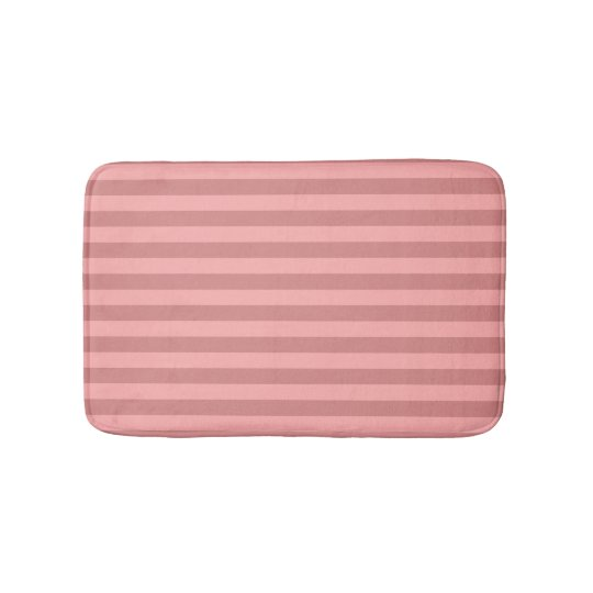 Pastel Red Striped Bath Mats