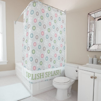 Pastel Retro Geometric Shower Curtain