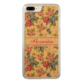 Pastel Romantic blossom Pink, Red, Blue Roses name Carved iPhone 8 Plus/7 Plus Case