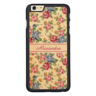 Pastel Romantic blossom Pink, Red, Blue Roses name Carved Maple iPhone 6 Plus Case