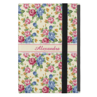 Pastel Romantic blossom Pink, Red, Blue Roses name Case For iPad Mini